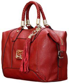 Guess - Gerri Faux Leather Box Satchel Handbag Ruby Red