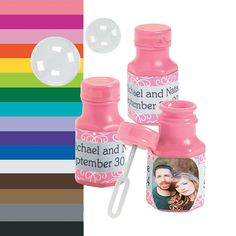 Custom Photo Hexagon Bubble Bottles - OrientalTrading.com