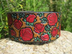 Hey, I found this really awesome Etsy listing at https://www.etsy.com/listing/153442707/hand-painted-tooled-leather-cuff