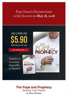 """""""Truth is stranger than fiction."""" Thus, the Holy Bible pulls back the curtain on Earth's darkest hour. A Pope Francis documentary will be hit theaters on May 18th, and this is a perfect opportunity to share the truth about the Pope and Prophecy:  https://remnantpublications.com/catalogsearch/result/?q=the+pope+and+prophecy&order=name&dir=asc (Tambien disponible en Español) #PopeFrancis #Prophecy #EndTimes"""
