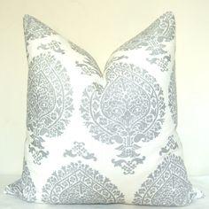 Accent Pillow - Silver - Paisley - 20x20 in - Linen - Metallic. $50.00, via Etsy.