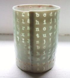 Porcelain abc cup by stepanka--throw/trim to THIN then stamp?  Or throw normally and stamp deeply to allow light through?
