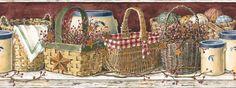 Mural Portfolio II Country Kitchen x Food and Beverage Border Wallpaper Decoupage, Primitive Wallpaper, Basket Shelves, Baskets, Borders For Paper, Home Wallpaper, Wallpaper Borders, Gifts For Pet Lovers, Country Decor