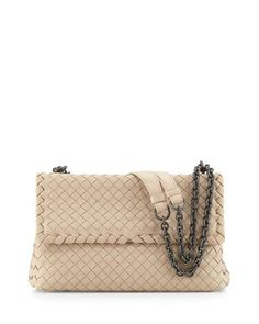 Olimpia Medium Intrecciato Shoulder Bag, Mink by Bottega Veneta at Neiman Marcus.