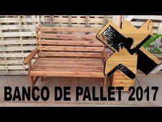 Banco de pallet versão 2017 - YouTube Diy Furniture, Outdoor Furniture, Outdoor Decor, Bench, Patio, Home Decor, Cedar Lumber, Wooden Stools, Wooden Pallet Furniture