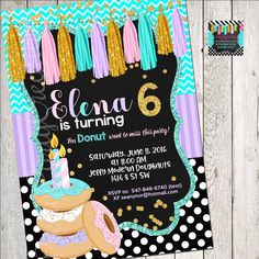 Your place to buy and sell all things handmade Brunch Invitations, Donut Party, All Design, Donuts, Rsvp, All Things, Handmade Items, Birthday Cake, Easter