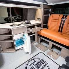 """Traditional """"Lux"""" Conversions - New Wave Custom Conversions Vw T5 Interior, Campervan Interior, T5 Camper, Campers, Vw Camper Conversions, Land Rover Defender, Motorhome, Trailers, Conversation"""