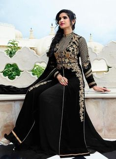 Embroidered Georgette Palazzo Suit in Black