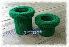 Warp Pipes - free Mario inspired crochet pattern by JoAnne Grimm Thompson.
