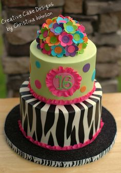 Sweet 16 with flowers, zebra, and ruffle border
