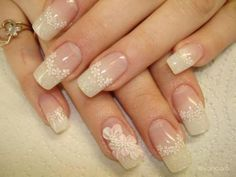 French nails with flowers Sexy Nail Art, Lace Nail Art, Elegant Nail Art, Elegant Nail Designs, Lace Nails, Beautiful Nail Designs, Flower Nails, Elegant Chic, French Nails