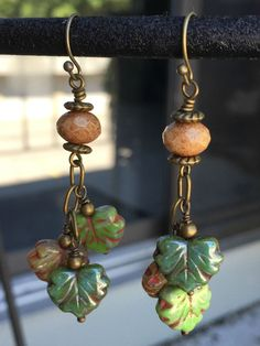 Falling Leaves Earrings - Czech Glass Fall Earrings - Fall Leaf Earrings - Autumn Colors Jewelry - Leaf Dangle Earrings - pinned by pin4etsy.com