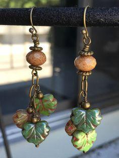 Falling Leaves Earrings - Czech Glass Fall Earrings - Fall Leaf Earrings - Autumn Colors Jewelry - Leaf Dangle Earrings - pinned by pin4etsy.com