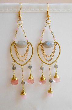 Labradorite cherry quartz jade gemstone chandelier earrings