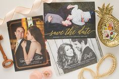 photo save the date cards with foil stamping