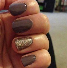 Sally Hansen brown nail polish & Sephora gold glitter