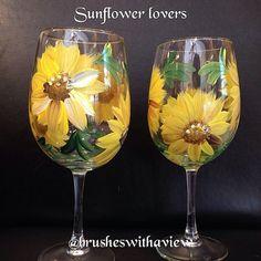 Sunflower Wine Glasses set of 2 by Brusheswithaview on Etsy, $30.00
