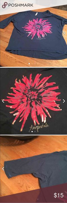 Aeropostale Xl top Aeropostale Xl top. V- neck navy with pink flower, silver writing. 3/4 sleeves. Aeropostale Tops