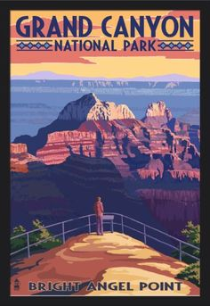 Grand Canyon National Park, Arizona - Bright Angel Point - Lantern Press Artwork (24x36 Giclee Art Print, Gallery Framed, Black Wood), Multi