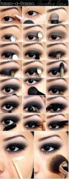 A make-up guide for the perfect smokey eyes look .- Eine Make-up Anleitung für den perfekten Smokey Eyes Look A make-up guide for the perfect smokey eyes look up - Smoky Eye Makeup Tutorial, Smokey Eye Makeup, Eye Tutorial, Monolid Makeup, Emo Makeup Tutorial, Asian Smokey Eye, Black Smokey Eye, Smokey Eyeshadow, Winged Eyeliner