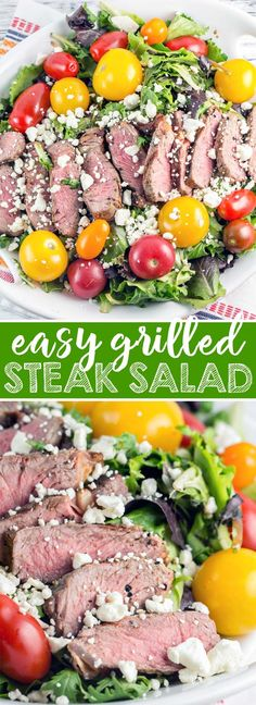 Grilled Steak Salad: grilled steak on a bed of lea…