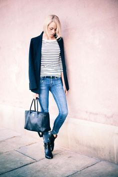 stripes / denim / blazer / booties  I mean, this is already my go to fall style - skinny jeans, blazer. booties + stripes? obviously.