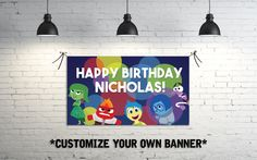 Inside Out Birthday Party Banner by DesignedByNick on Etsy https://www.etsy.com/listing/244267170/inside-out-birthday-party-banner
