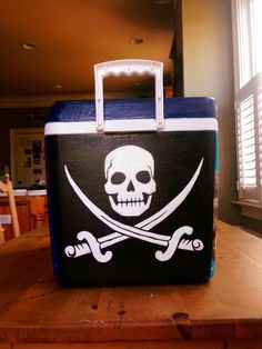 Painted cooler with skull and crossbones pirate flag