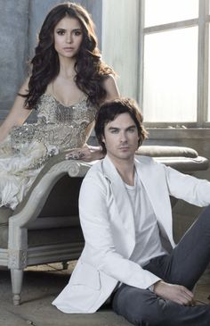 Ian Somerhalder and Nina Dobrev. #thevampirediares
