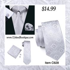 "This is a brand new men's silk tie set. Set includes coordinating tie, handkerchief and cuff link.    Tie length is 61"" from end to end, and 3.25"" width at the widest part of the tie.     **Please Note** This item requires three (3) weeks to ship.  Please take the shipping time into consideration prior to placing your order.  Thank you ~ 📦    Also available on our website @ www.UyleesBoutique.com in our ""Men's Ties"" section. 