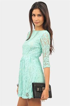 Long Sleeved Mint Lace Dress