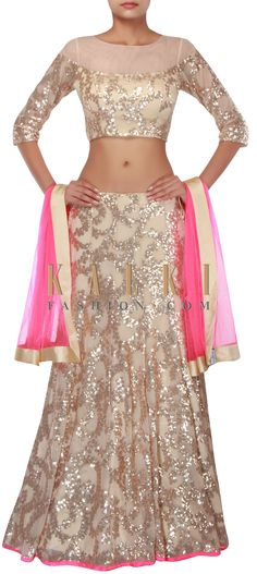 Beige lehenga adorn in sequin embroidery only on Kalki Indian Wedding Outfits, Pakistani Outfits, Indian Outfits, India Fashion, Ethnic Fashion, Indian Attire, Indian Wear, Eastern Dresses, Indian Look