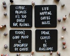 Coffee Coasters, Coffee Gift, Drink Coasters, Funny Coasters, Hand-painted Coast… – In-house Factory Tile Crafts, Vinyl Crafts, Wooden Crafts, Diy Arts And Crafts, Crafts To Sell, Funny Coasters, Coffee Coasters, Diy Coasters, Painted Wood Signs