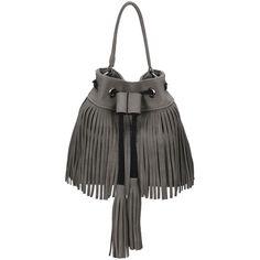 SheIn(sheinside) Grey Drawstring Tassel Bucket Bag ($20) ❤ liked on Polyvore featuring bags, handbags, grey, drawstring bucket handbags, gray bag, drawstring purse, grey drawstring bag ve gray purse