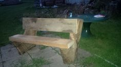 Rustic bench for the fire pit