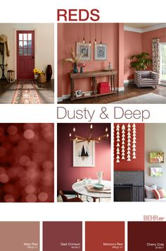 FAQ REDS FAQ REDS Sabine Kraft Sabine Kraft Dusty and deep reds create a gracious welcoming and elegant touch to any living space Dusty Reds like Mars hellip Accent Walls In Living Room, Living Room Red, Living Room Photos, Accent Wall Bedroom, Paint Colors For Living Room, Paint Colors For Home, House Colors, Red Paint Colors, Red Color