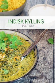 Indisk kylling i cremet spinat Lchf, Indian Food Recipes, Healthy Recipes, Ethnic Recipes, Dinner Is Served, Middle Eastern Recipes, Love Food, Chicken Recipes, Food And Drink