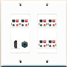 home wiring wall plate 2 15amp power outlet 2 hdmi 1 coax 3 rca composite video  2 15amp power outlet 2 hdmi 1 coax 3 rca composite video