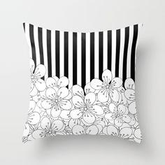 Cherry Blossom Stripes - In Memory of Mackenzie Throw Pillow #black #white #stripes #strip #flower #cherry #blossom #memory #mackenzie