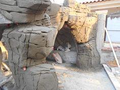 Rock stone with cement Artificial Rocks, Artificial Tree, Zoo Architecture, Fake Rock, Concrete Art, Landscape Walls, Rock Formations, Rock Art, Backyard