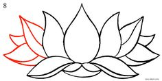 Flower Drawing Tutorial Step By Step, Flower Step By Step, Flower Drawing Tutorials, Lotus Flower Art, Watercolor Flower, Flower Outline, Wall Drawing, Plant Drawing, Drawing Board