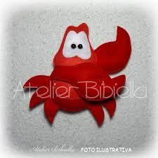 Resultado de imagem para molde sebastiao da pequena sereia Ariel, Baby Shower, Christmas Ornaments, Holiday Decor, Disney, Dyi, Characters, Decorations, Paper Engineering