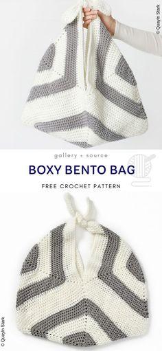 Newest Screen Crochet Bag organizer Tips Boxy Bento Bag Made with 3 Squares Free Crochet Pattern Japanese Crochet Bag, Japanese Crochet Patterns, Easy Crochet Patterns, Knitting Patterns Free, Crochet Tote, Crochet Purses, Cute Crochet, Beautiful Crochet, Granny Square Bag