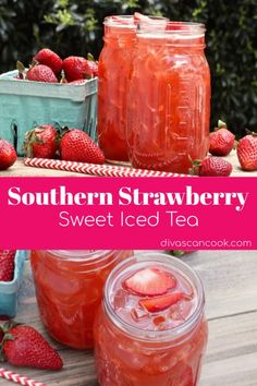 Southern Strawberry Sweet Iced Tea Divas Can Cook Refreshing Drinks, Summer Drinks, Fun Drinks, Healthy Drinks, Healthy Food, Nutrition Drinks, Mixed Drinks, Healthy Recipes, Healthy Nutrition