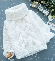"Best 11 Turtle Neck Sweater ""Red heart"" – Made to order – Family look – Kids Sweater – Kids fashion – Kids Knitwear – SkillOfKing. Sweater Knitting Patterns, Knitting Stitches, Knitting Yarn, Hand Knitting, Knitting Sweaters, Crochet Baby, Knit Crochet, Pull Bebe, Knitting For Kids"