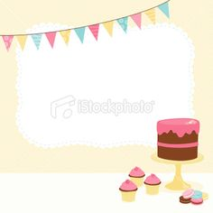 Desserts with bunting and banner Royalty Free Stock Vector Art Illustration