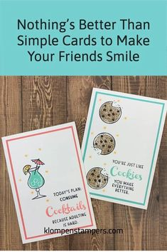 The Stampin' Up! 'Nothing's Better Than' bundle is super fun and these 4 simple greeting cards you can make will definitely make your friends smile. Heck, you may even want to have a card making party! Get started at www.klompenstampers.com #nothingsbetterthanstampinup #stampinupnothingsbetterthan #stampinupcards #stampinup #simplecards #simplecardmaking #cardmakingtutorials #jackiebolhuis #klompenstampers Card Making Tips, Card Making Tutorials, Simply Stamps, Coffee Cards, Scrapbook Cards, Scrapbooking, Different Words, Homemade Cards, Stampin Up Cards