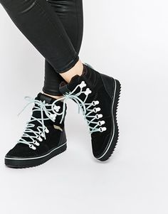 5ef123562cc532 adidas Originals Honey Hill Black Hiker High Top Sneakers Black Leather  Sneakers