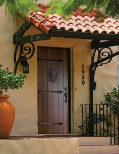 Poolhouse Prehung Exterior Single Door 96 80 FSC Wood Mahogany Solid - traditional - front doors - tampa - US Door & More Inc Spanish Style Homes, Spanish House, Spanish Bungalow, Door Design, Exterior Design, House Design, Exterior Doors, Entry Doors, Door Overhang