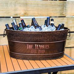 Personalized Copper Beverage Tub & Ice Bucket for Wedding Gift, Housewarming, Birthday, Anniversary, 7 Year Anniversary Gift, Copper Anniversary Gifts, Anniversary Gifts For Couples, Wedding Gifts For Couples, 7th Wedding Anniversary, Copper Gifts, Beverage Tub, Diy Gift Baskets, Copper Wedding